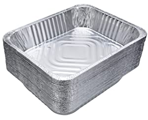 "DOBI Aluminum Pans (30-Pack) - Disposable Aluminum Foil Steam Table Deep Pans, Half Size Chafing Pans - 12 1/2"" x 10 1/4"" x 2 1/2"""