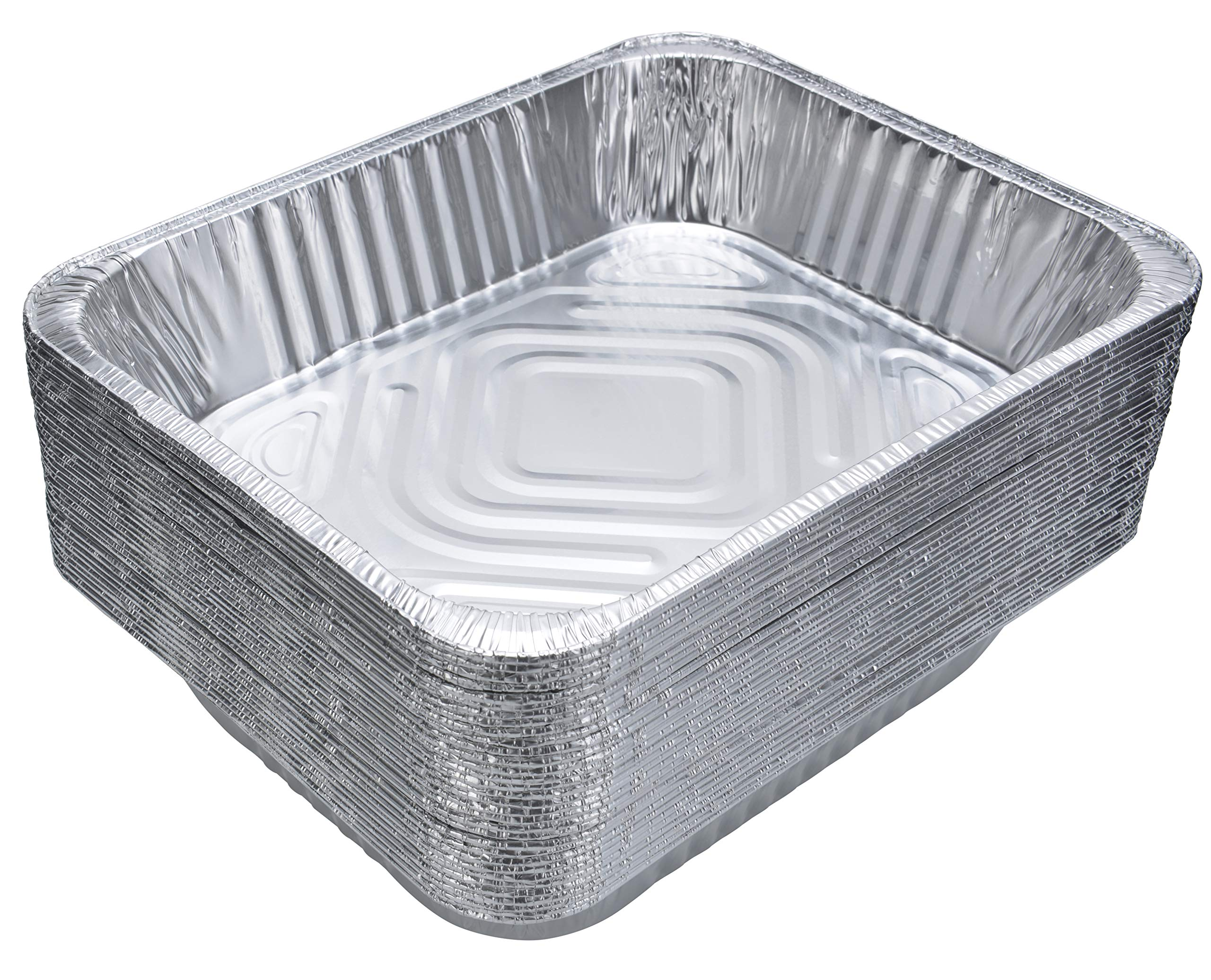 DOBI Aluminum Pans (30-Pack) - Disposable Aluminum Foil Steam Table Deep Pans, Half Size Chafing Pans - 12 1/2'' x 10 1/4'' x 2 1/2''