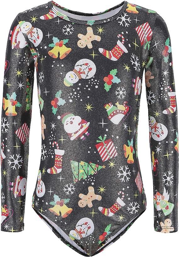 Gymnastics Leotards for Girls Long Sleeved Christmas Snowman Sparkly Dancewear