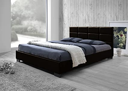 . Baxton Studio Vivaldi Modern and Contemporary Dark Brown Faux Leather  Padded Platform Base Full Size Bed Frame