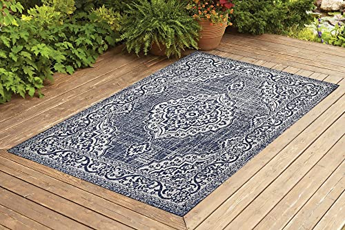 Benissimo Indoor Outdoor Rug Palace Collection, Natural Sisal Woven and Jute Backing Area Rugs for Living Room, Bedroom, Kitchen, Entryway, Hallway, Patio, Farmhouse Decor 8×10, Navy