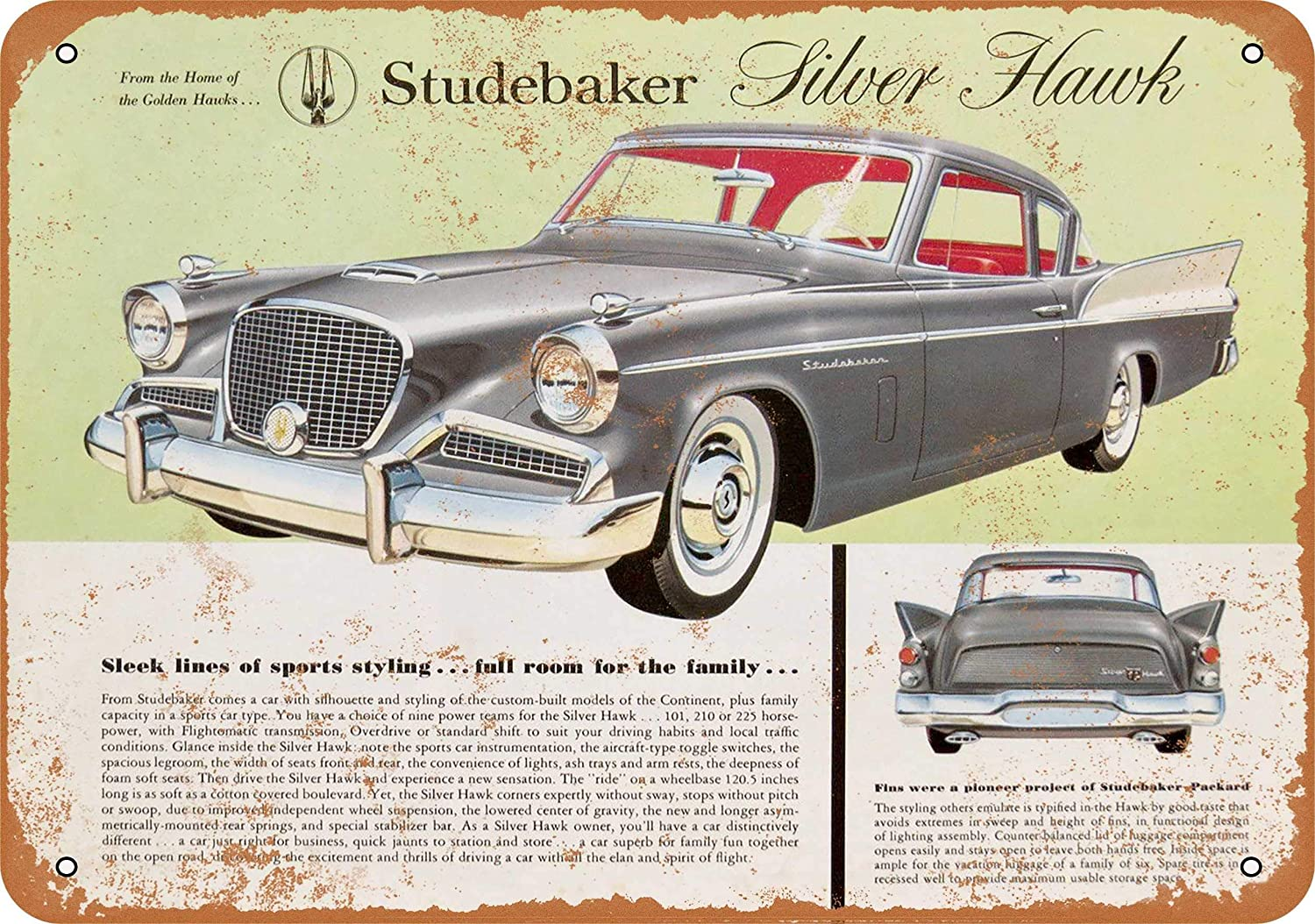 Amazon.com: Wall Color 7 X 10 METAL SIGN   1957 Studebaker Silver Hawk    Vintage Look Reproduction: Home U0026 Kitchen