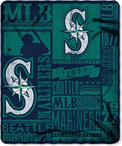 MLB Seattle Mariners Strength Fleece Throw Blanket 50-inch by 60-inch, Green