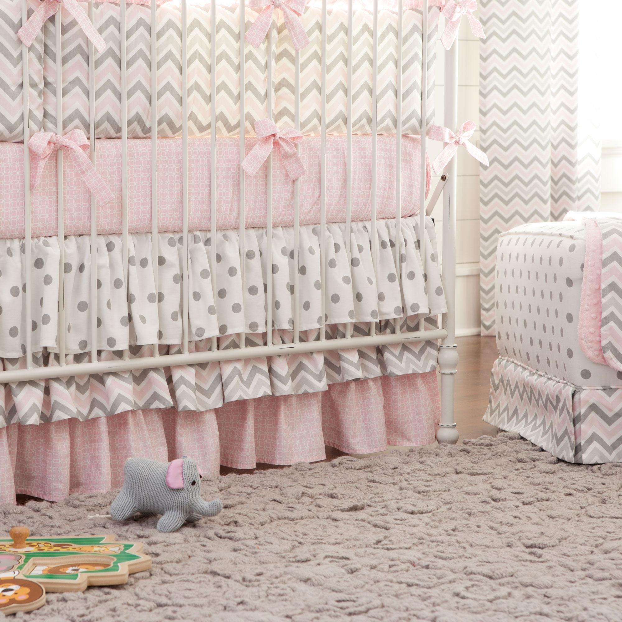 Carousel Designs Pink and Gray Chevron Crib Skirt Three Tier 18-Inch Length