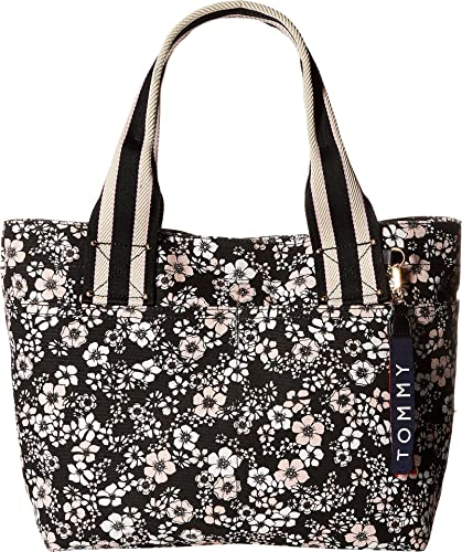 ce3d9d6aa5aef Amazon.com  Tommy Hilfiger Women s Classic Tommy Shopper Dogwood Canvas Tote  Black Pink One Size  Shoes