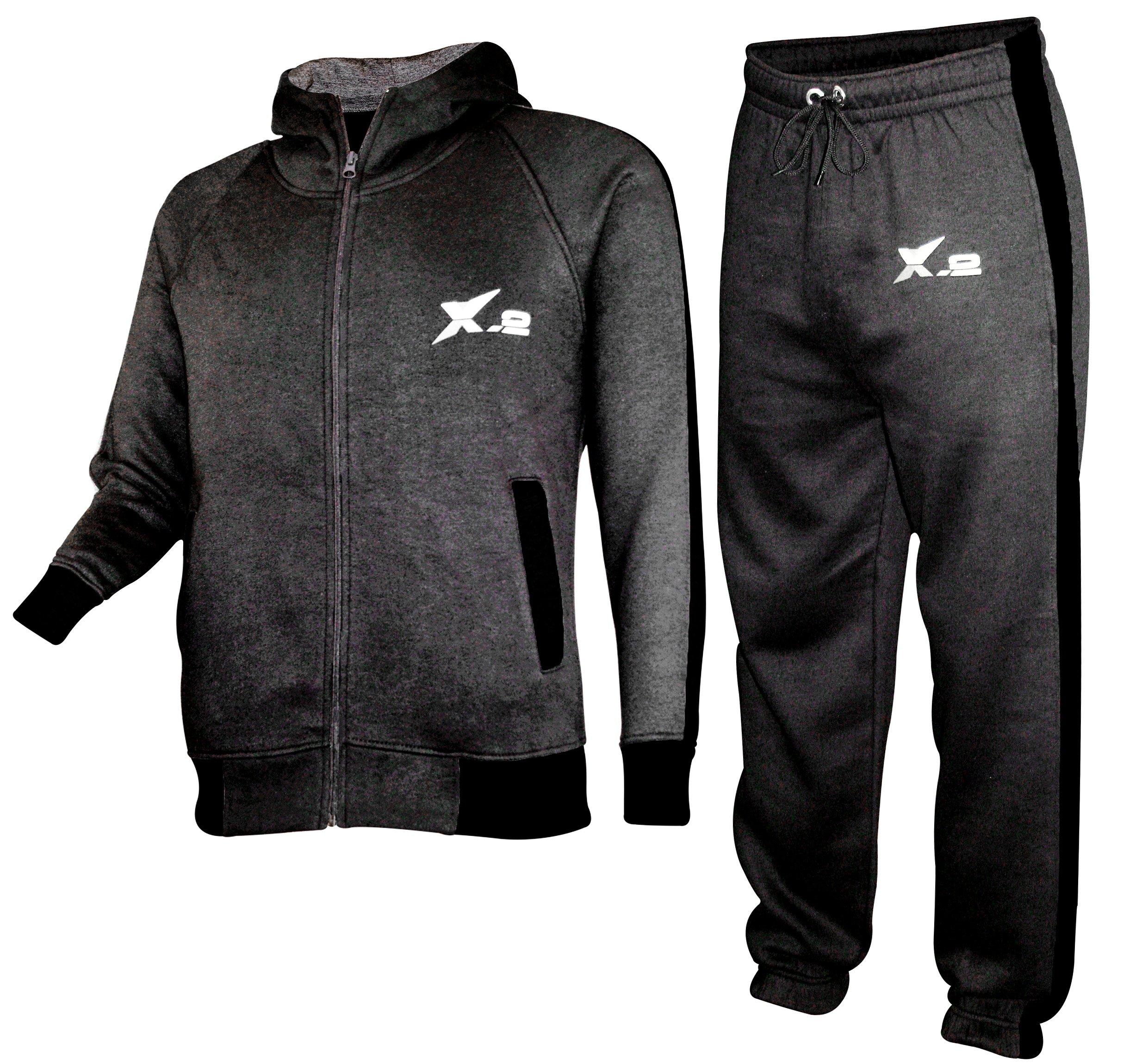 X-2 Mens Athletic Fleece Tracksuit Jogging Sweatsuit Activewear Hooded Top Charcoal XXL