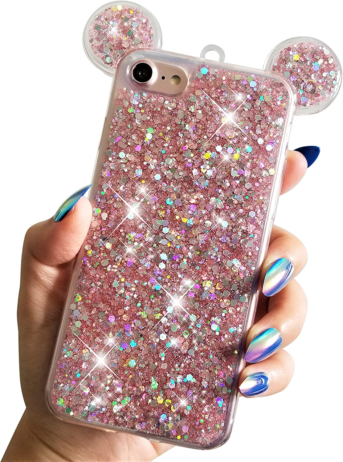 """NAMA for iPhone 7/8 4.7"""" iPhone SE (2020) 2nd Gen Soft TPU Holographic Dots Minnie Mickey Ears Shiny Glitter Disney Back Cover Case (Pink)"""
