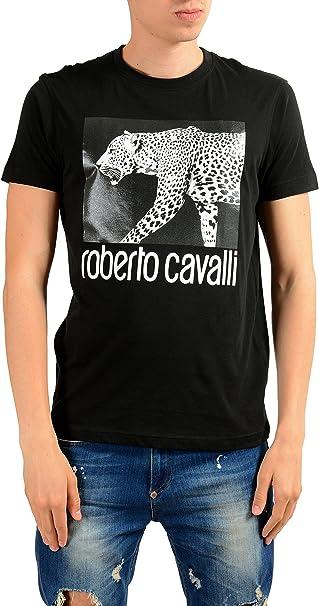 ROBERTO CAVALLI Mens Gray Graphic Leopard Crewneck T-Shirt Size US M IT 50