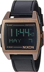 Nixon Base Leather Mens Retro Style Smart Watch (38mm. Digital Face/Leather Band