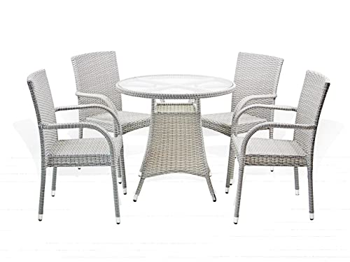 5 Pc Patio Resin Outdoor Wicker Dining Set. Round Table w Glass 4 Arm Chair. Gray Color