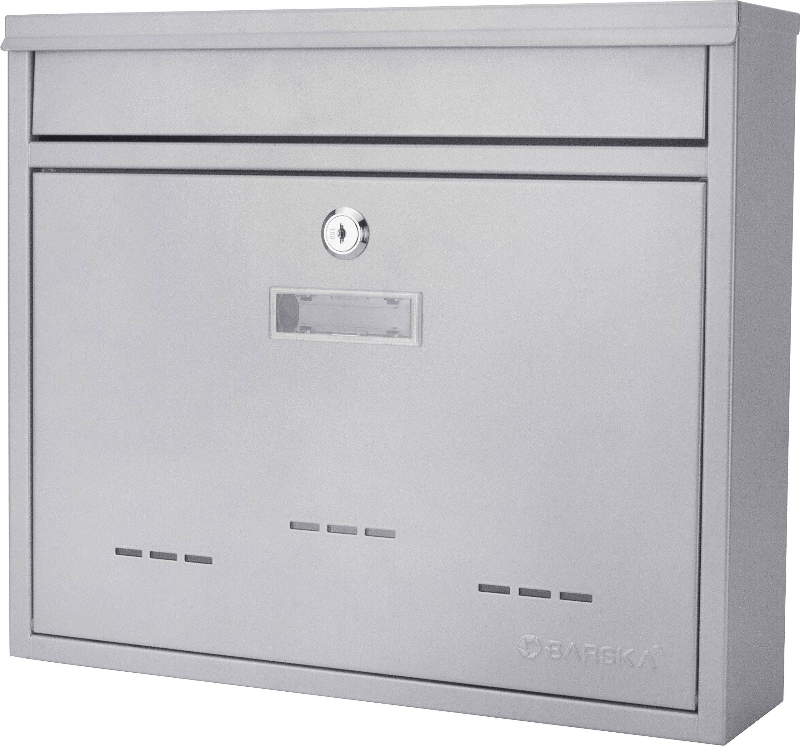 Winbest Steel Drop Slot Wall Mount Mail Box, Grey (Medium)