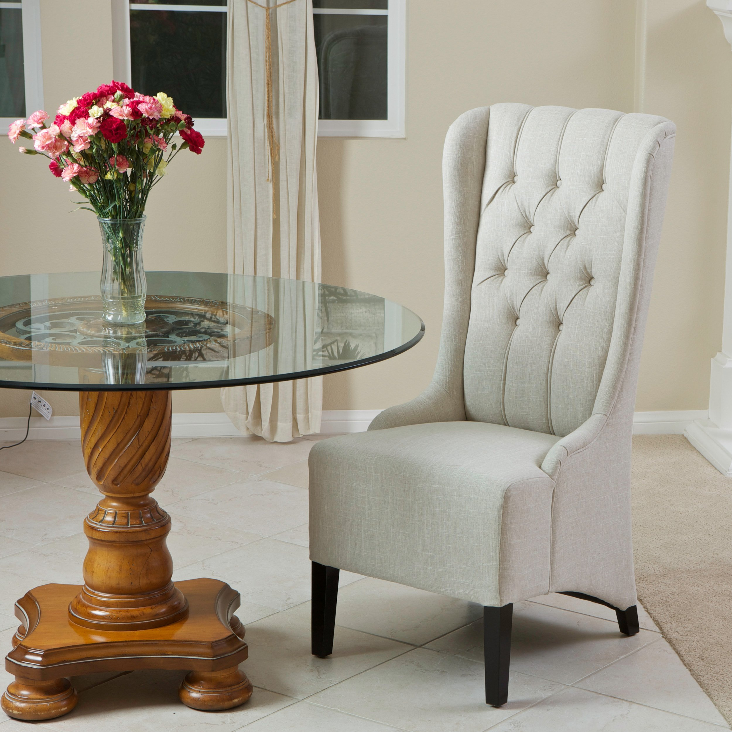 Christopher Knight Home 235110 Champion Tufted Light Beige Fabric Dining Chair