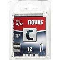 Novus Smalle rugklemmen 12 mm, 1100 klemmen van type C4/12, nietmiddel voor profielhout, panelen en houtvezelplaten