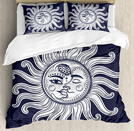 Sun and Moon Queen Size Duvet Cover Set by Ambesonne Decorative 3 Piece Bedding Set with 2 Pillow Shams Dark Blue White Love and Romance in Sky Eclipse at Midnight Themed Folk Elements Vintage