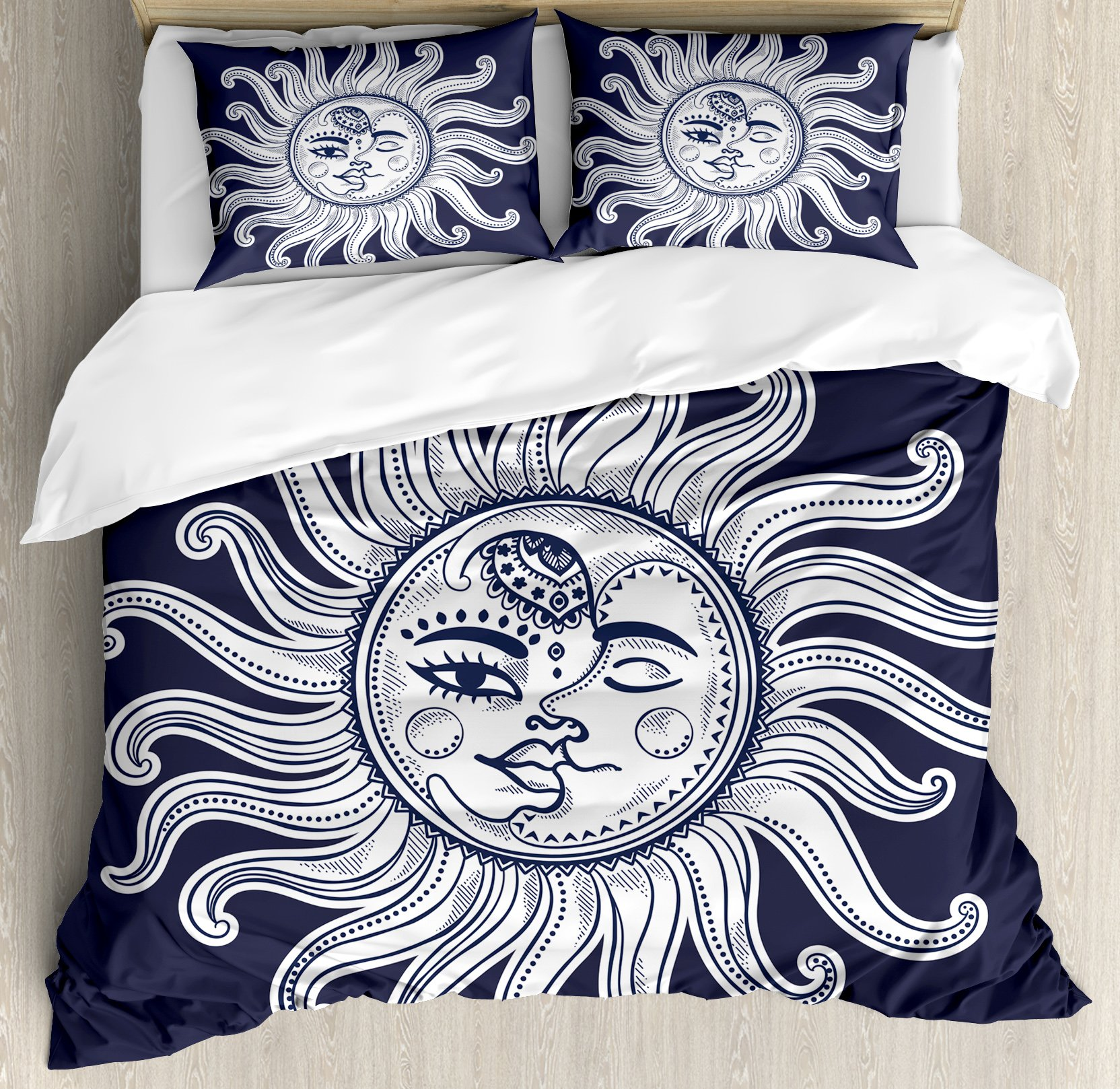 Sun and Moon Queen Size Duvet Cover Set by Ambesonne, Love and Romance in Sky Eclipse at Midnight Themed Folk Elements Vintage, Decorative 3 Piece Bedding Set with 2 Pillow Shams, Dark Blue White