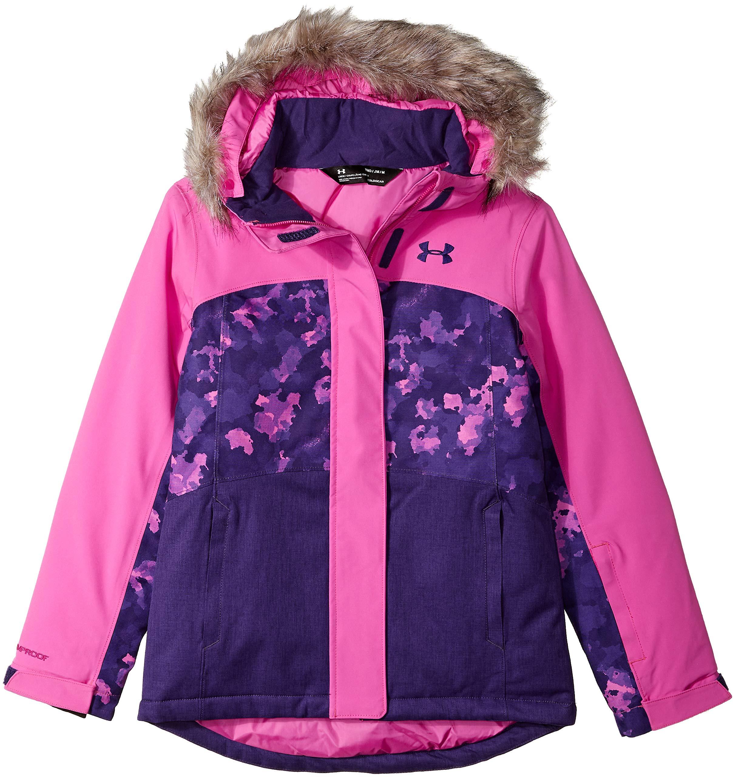 Under Armour Girls' Big ColdGear Max Altitude Ski Jacket, Flour Fuchsia with Fur, Small (7) by Under Armour