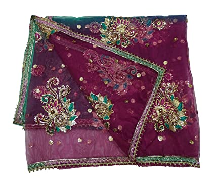 Amazon Peegli Vintage Indian Green Floral Design Dupatta Women