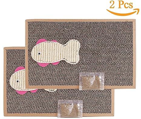 BPS 2Pcs Rascador Gatos Rascador de Cartón Juguetes Gatos Accesorio Ideal para Afile Las Uñas (