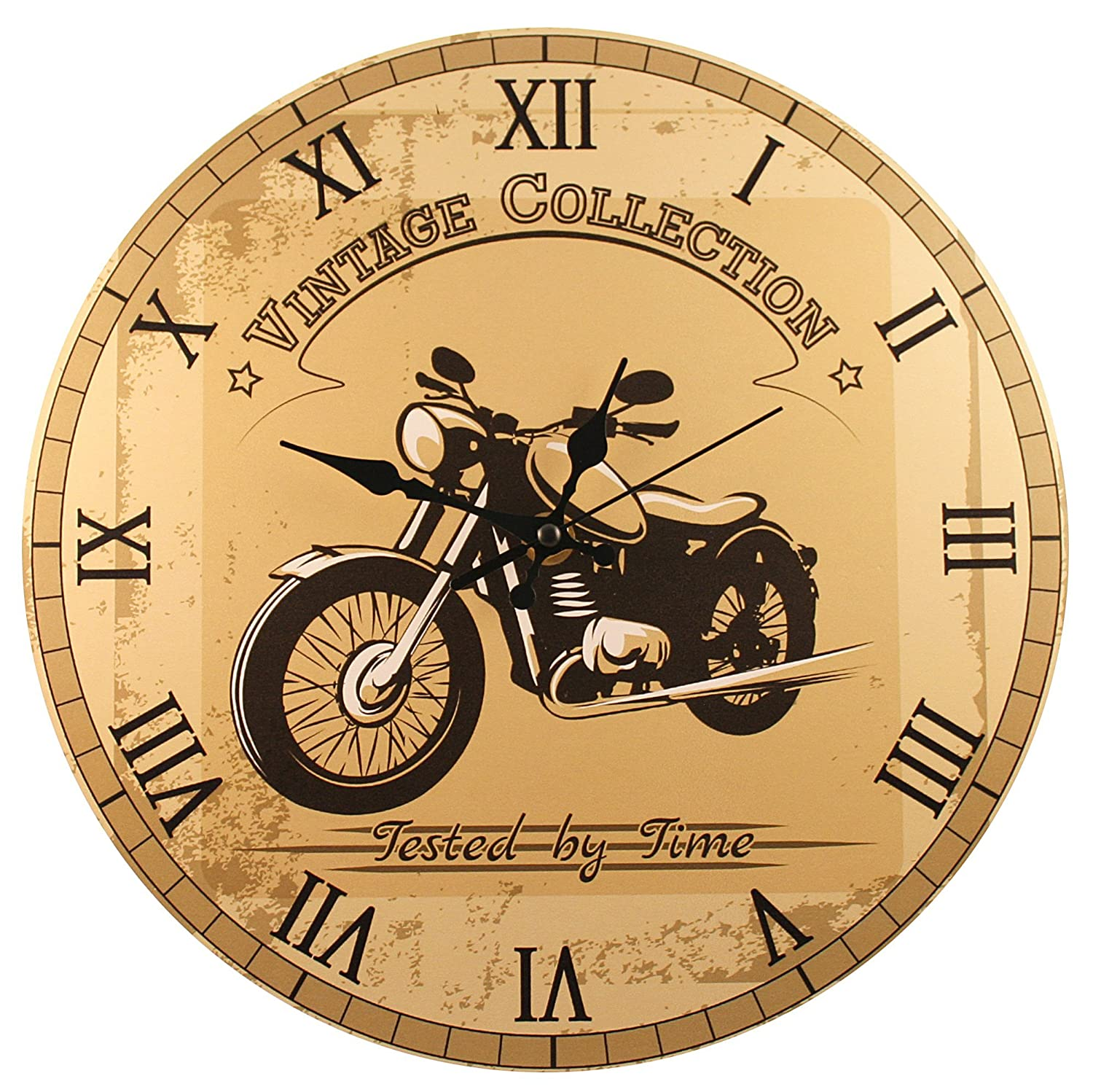 Amazon.com: Motorcycle Wall Clock - \'Vintage Motorcycle\' (11\