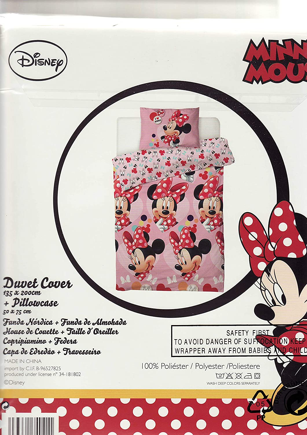 Disney Minnie Mouse I Love Parure de lit Simple