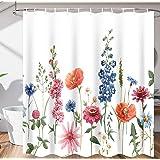 Floral Shower Curtain for Bathroom Waterproof Fabric Shower Curtain Set Watercolor Flower Bath Curtains for Modern Bathroom M