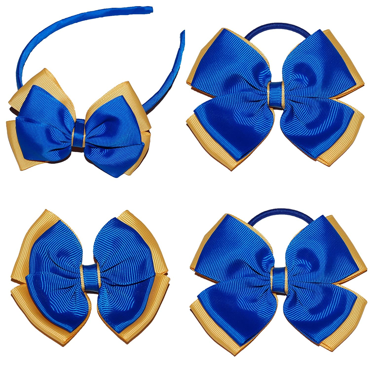 Royal Blue and Yellow School Hair Bow Set  2d922a85fca