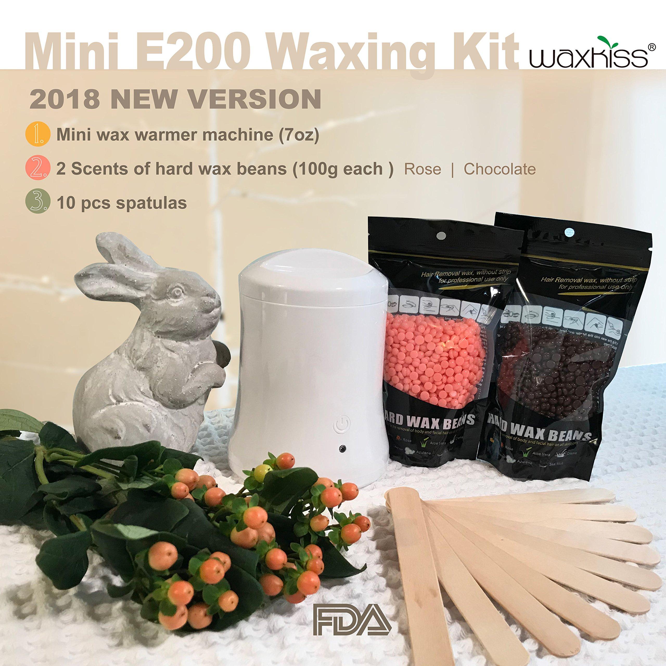 [ 2018 Upgrade Version ] Waxkiss Mini Wax Warmer Kit 7oz Hair Removal Wax Heater Kit One Key Control with Hard Wax Beans for Woman & Man Wax Kit (1 Wax Warmer & 2 Bags Wax Beans & 10 Wooden Sticks)