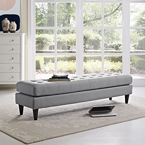 Modway Empress Mid-Century Modern Upholstered Fabric Large Bench, 71 In Light Gray