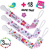 Pacifier Clip for Girls, Pack of 3 by Milanti + 18 Name Tags Labels, Premium Quality Fun Designs Universal Holder Leash for Pacifiers, Teething Toy or Soothie
