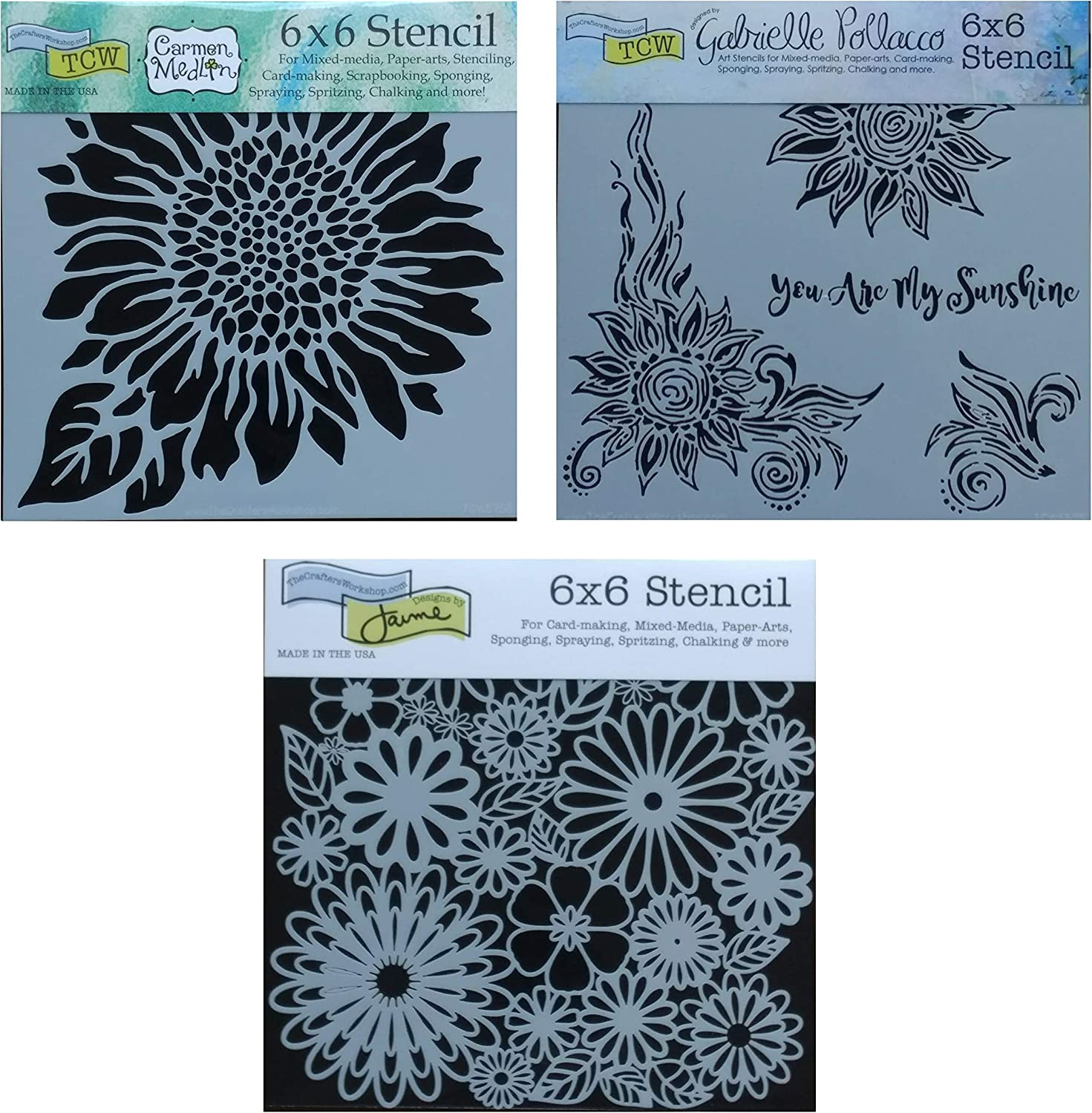 3 Crafters Workshop Mixed Media Stencils Set| Sunflower Stencil for Arts, Card Making, Journaling, Scrapbooking | 6 Inch x 6 Inch Templates | Small and Large Sunflowers