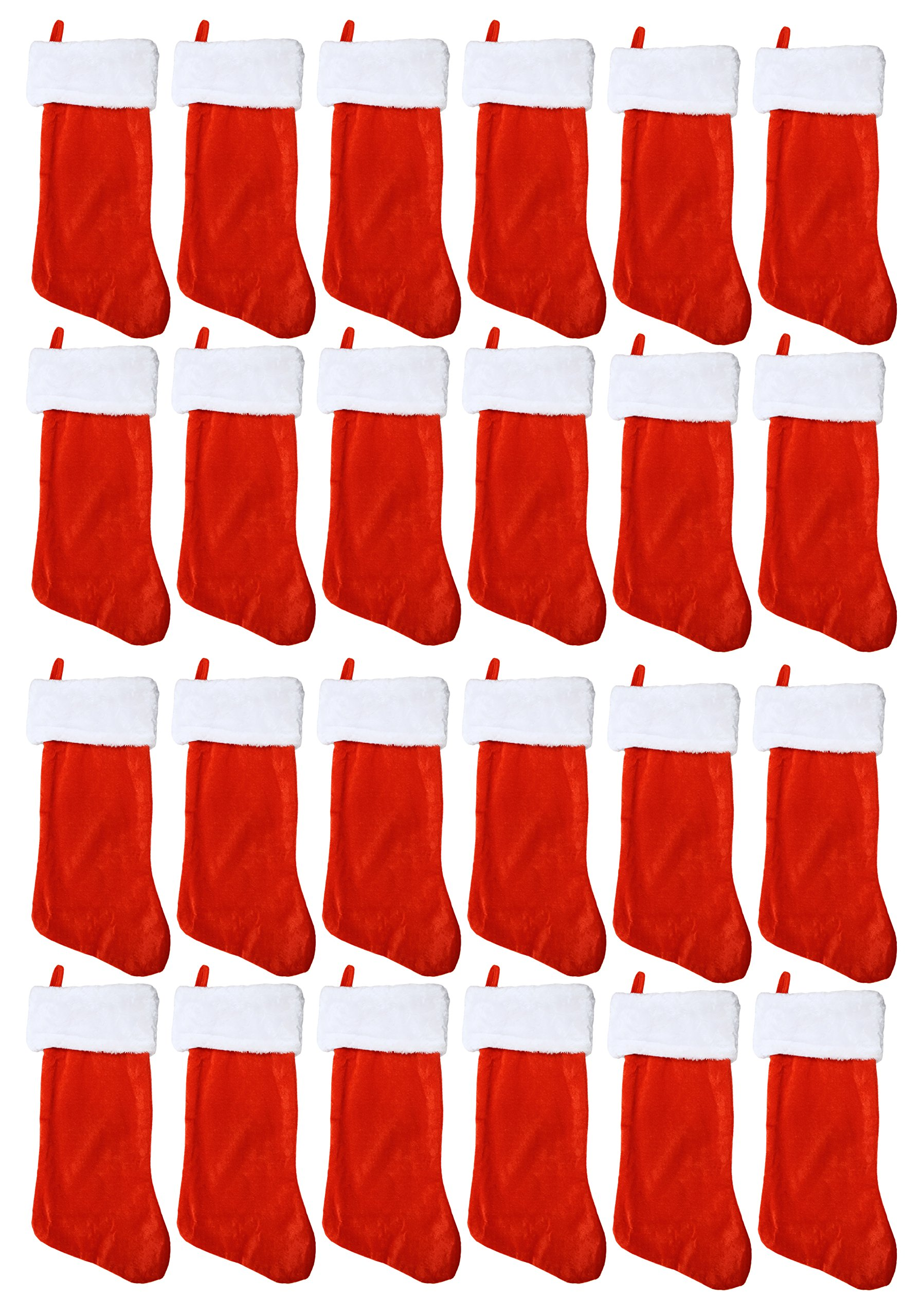 Set of 24 Christmas 19'' Red Velvet Stockings W/ White Plush Cuff & Hanging Tag (24)