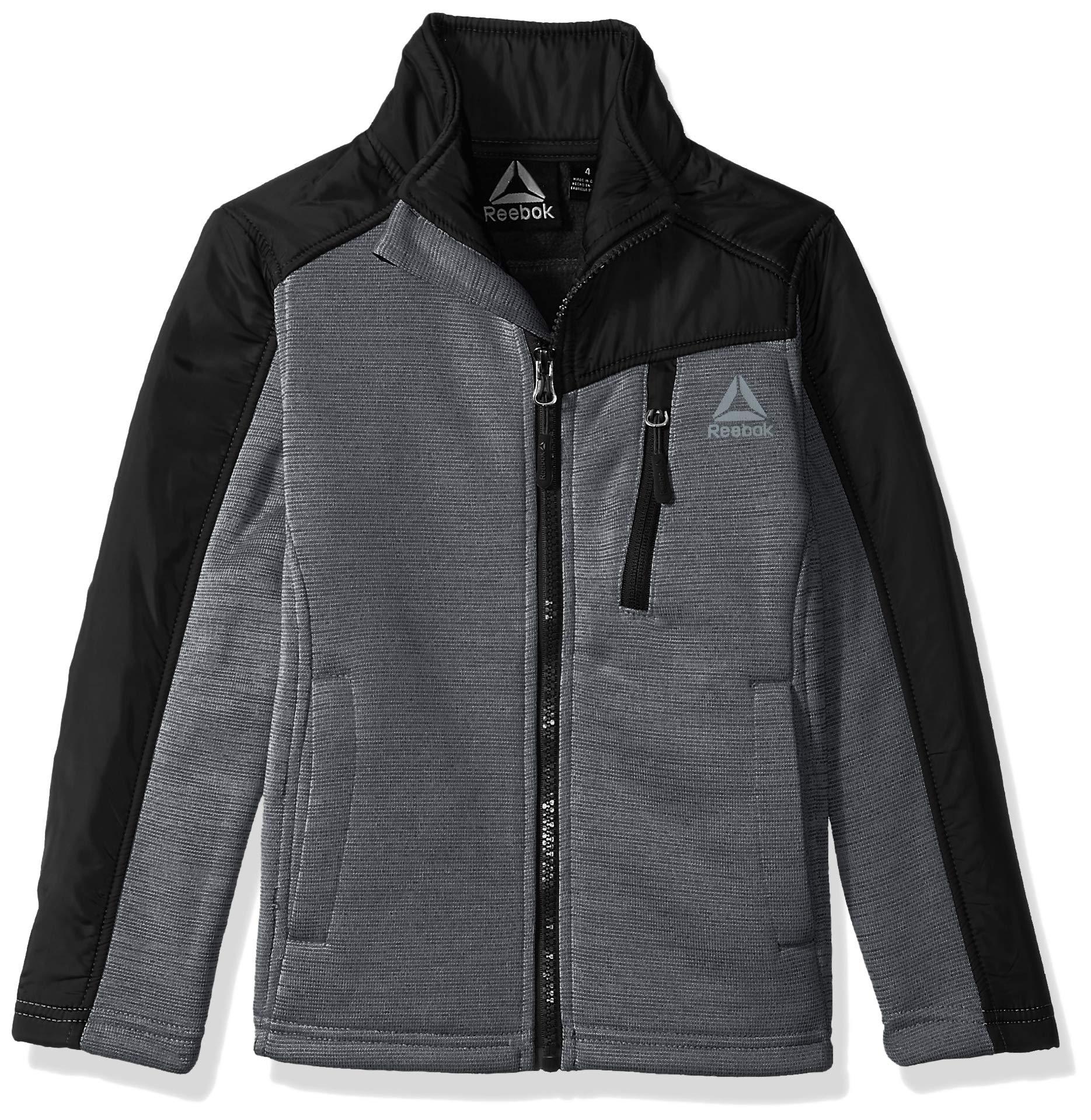 Reebok Boys' Big Active Soft Fleece Jacket, Charcoal, 10/12