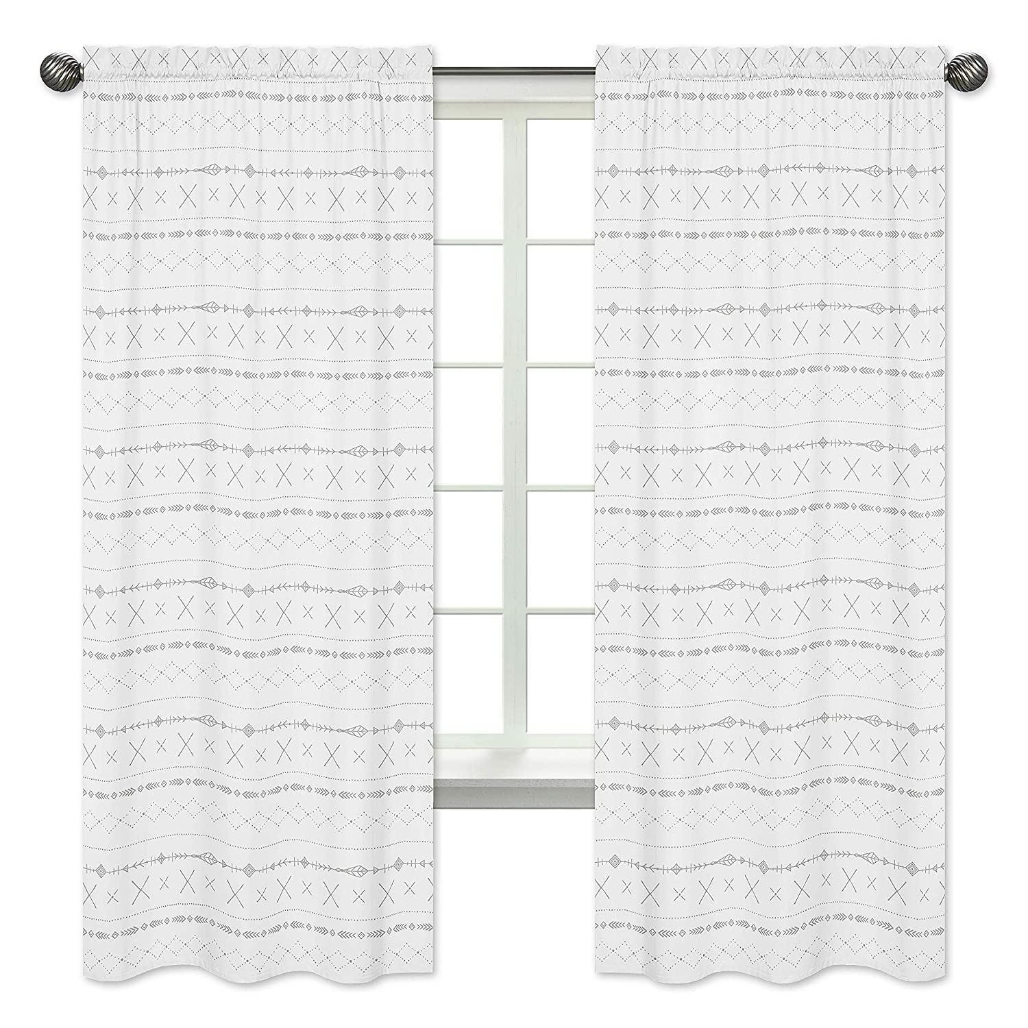 Sweet Jojo Designs Grey and White Boho Tribal Window Treatment Panels Curtains for Gray Woodland Forest Friends Collection - Set of 2