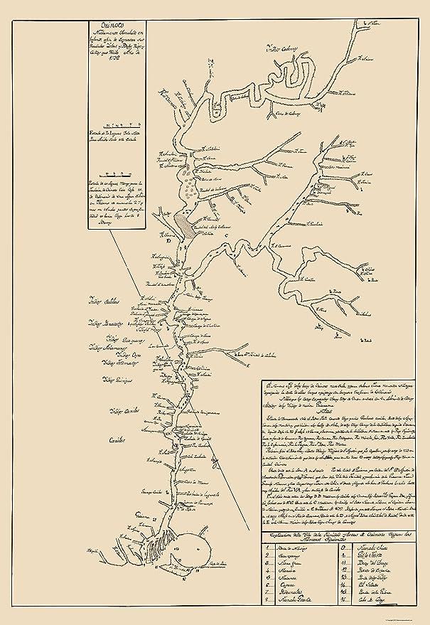 Amazon Com Old South America Map Orinoco River Venezuela And