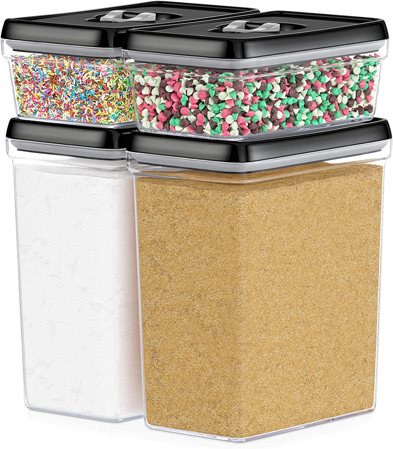 DWËLLZA KITCHEN Large Airtight Food Storage Containers - Bulk Food Pantry & Kitchen Storage Containers for Sugar, Flour and Baking Supplies - 4 PC Set, Clear Plastic BPA-Free, Keeps Fresh & Dry