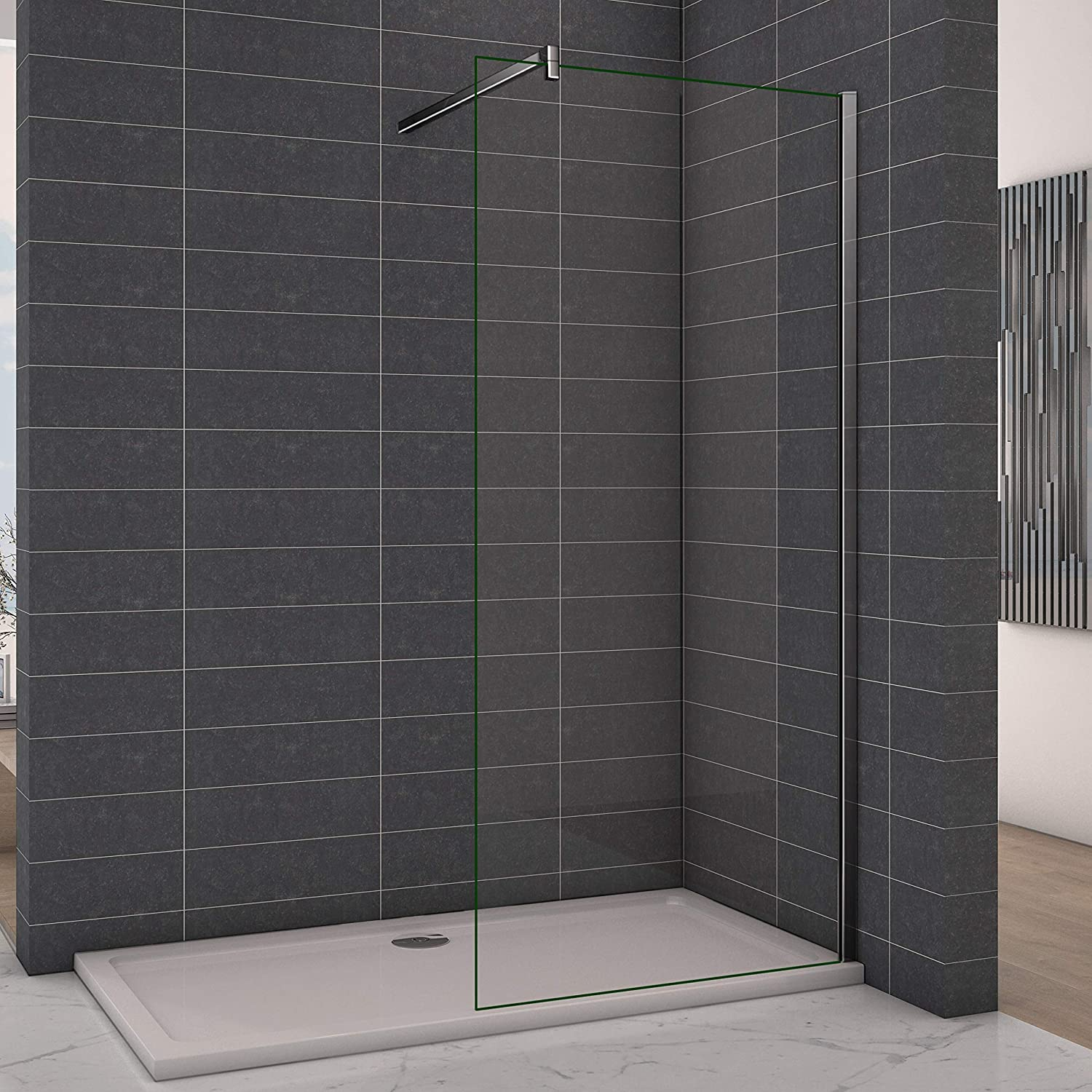 Perfect 700mm Walkin Wetroom Shower Screen Panel 8mm Easy Clean Glass Shower Enclosure with Support Bar