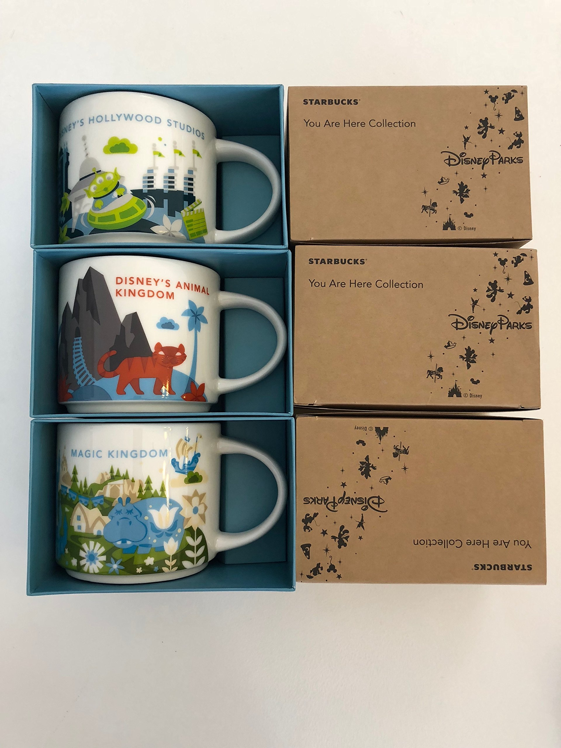 3 Mug Set:Animal Kingdom+Magic Kingdom + Hollywood Studios You Are Here Starbucks 14 Oz. Mugs W/Bonus Blank Starbucks Card