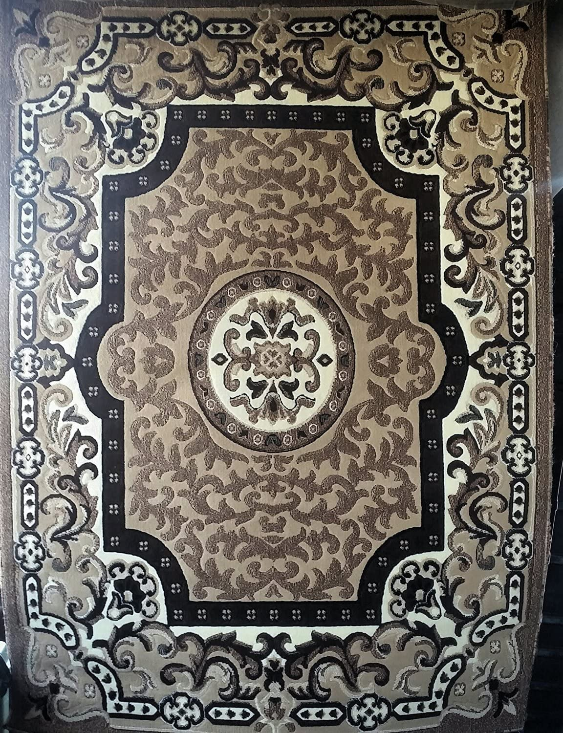 Traditional Persian Area Rug Beige Brown Ivory Carpet King Design 101 (6 Feet X 9 Feet)