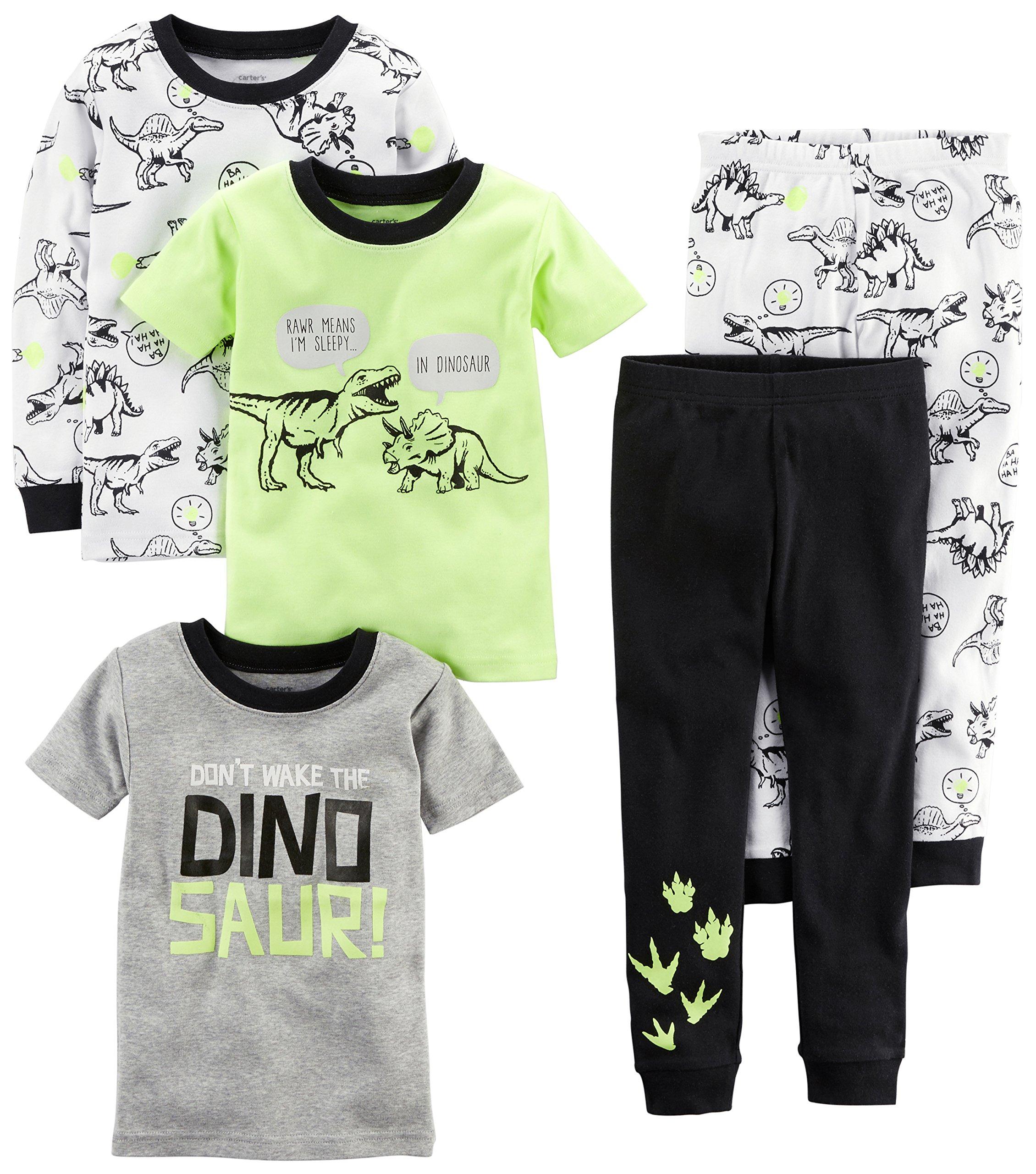 Carter's Boys' Toddler 5-Piece Cotton Snug-Fit Pajamas, Dino, 5T