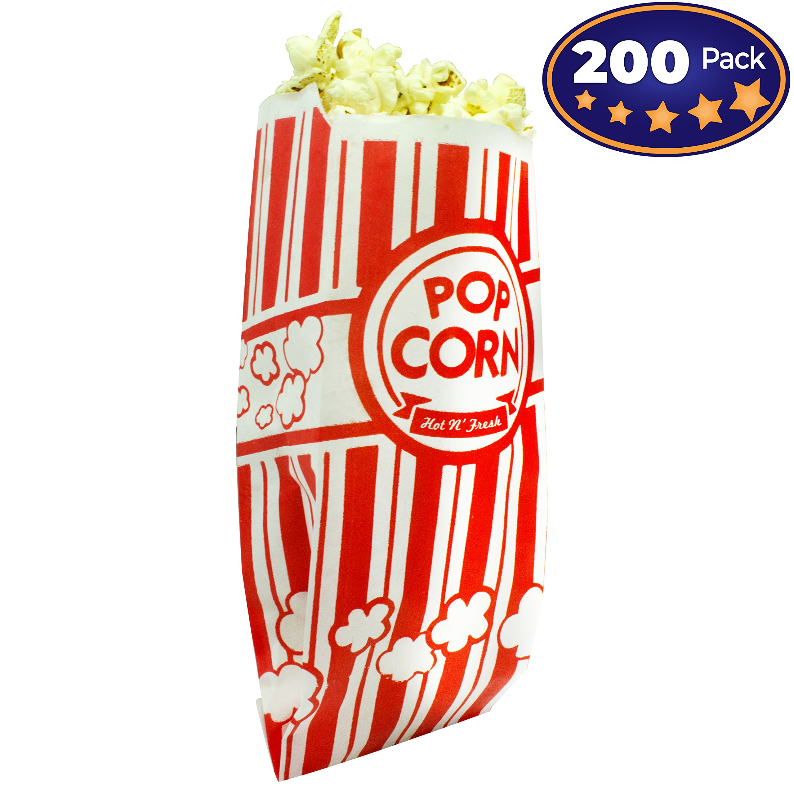 Popcorn Bags Coated for Leak/Tear Resistance. Single Serving 1oz Paper Sleeves in Nostalgic Red/White Design. Great Movie Theme Party Supplies or for Old Fashioned Carnivals & Fundraisers! (200)