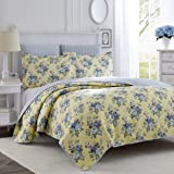 Laura Ashley Home | Linley Collection | Luxury Premium Ultra Soft Quilt Coverlet, Comfortable 3 Piece Bedding Set, All Season Stylish Bedspread, King, Pale Yellow