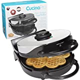 Heart Waffle Maker- Non-Stick 5-Heart Waffler Iron Griddle w Adjustable Browning Control- Beeps When Ready- Great Valentines Day Gift