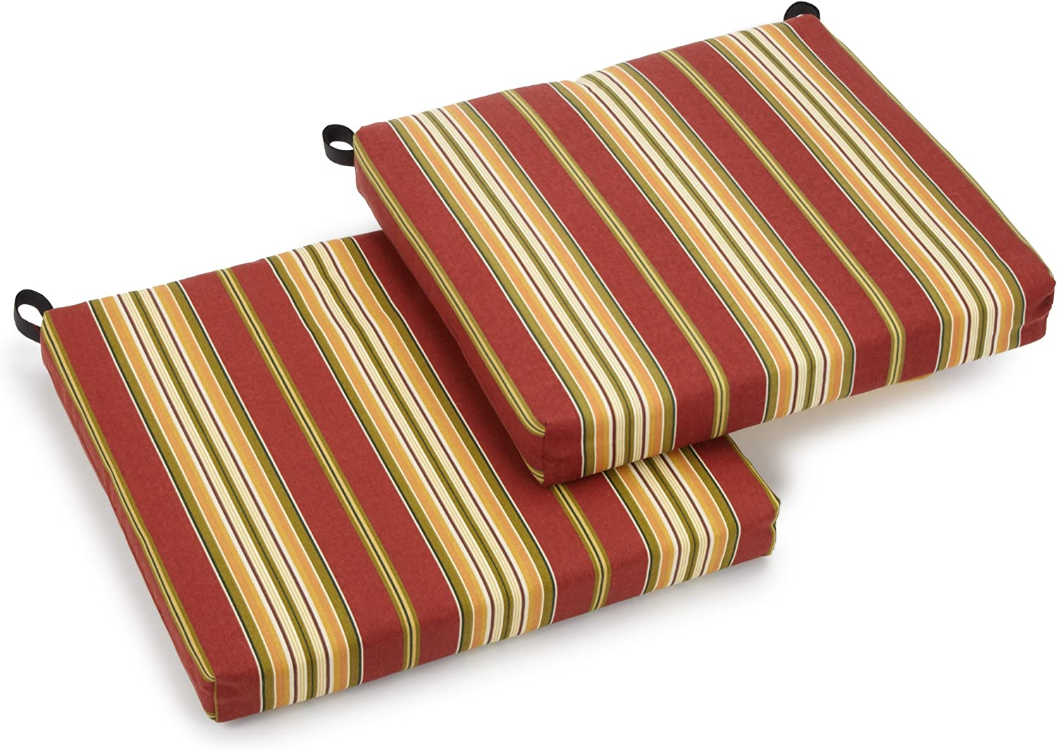 Blazing Needles Outdoor Spun Poly 19-Inch by 20-Inch by 3-1 2-Inch All Weather UV Resistant Zippered Cushions, Kingsley Stripe Ruby, Set of 2