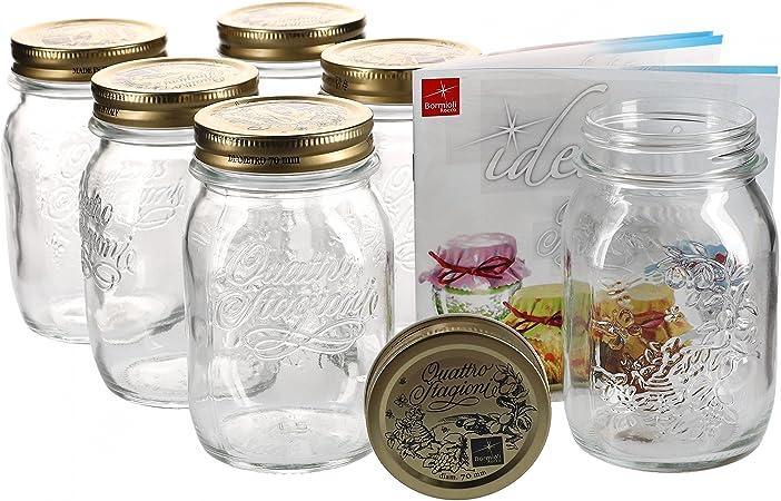 capacit/à: 3 litri libro di ricette Bormioli incluso Bormioli Set da 6 vasetti in vetro per conserva con chiusura a leva