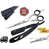 Professional BARBER Hair cutting Hairdressing Scissors 14cm AND RAZOR BLACK SET