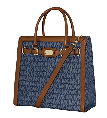 b1400803f866 MICHAEL KORS HAMILTON FRAME OUT LARGE NORTH SOUTH TOTE FABRIC DENIM BAG   Handbags  Amazon.com