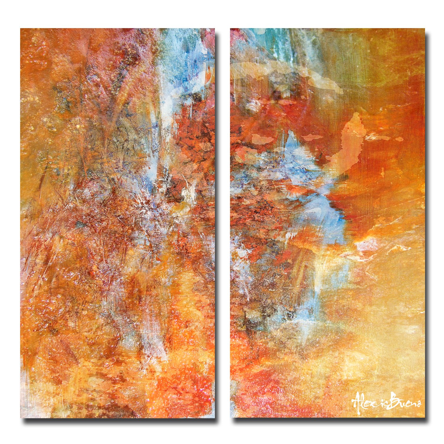 Ready2HangArt 2 Piece 'Abstract' Large Canvas Wall Art, 20'' High x 40'' Wide x 1'' to 2'' Deep, Orange/Yellow/Blue/Green by Ready2hangart