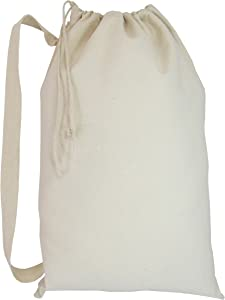 Laundry Bag with Drawstring Closure and Shoulder Straps Heavy Cotton Canvas - Large, Natural, Set of 1