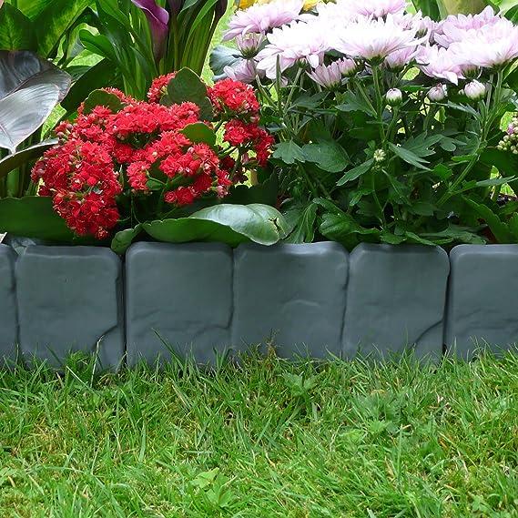 Pukkr Bordes con efecto de césped de piedra de 5 metros | Planta limítrofe | Martillo En Borde De Jardín De Adoquines | 20 piezas (5m): Amazon.es: Jardín