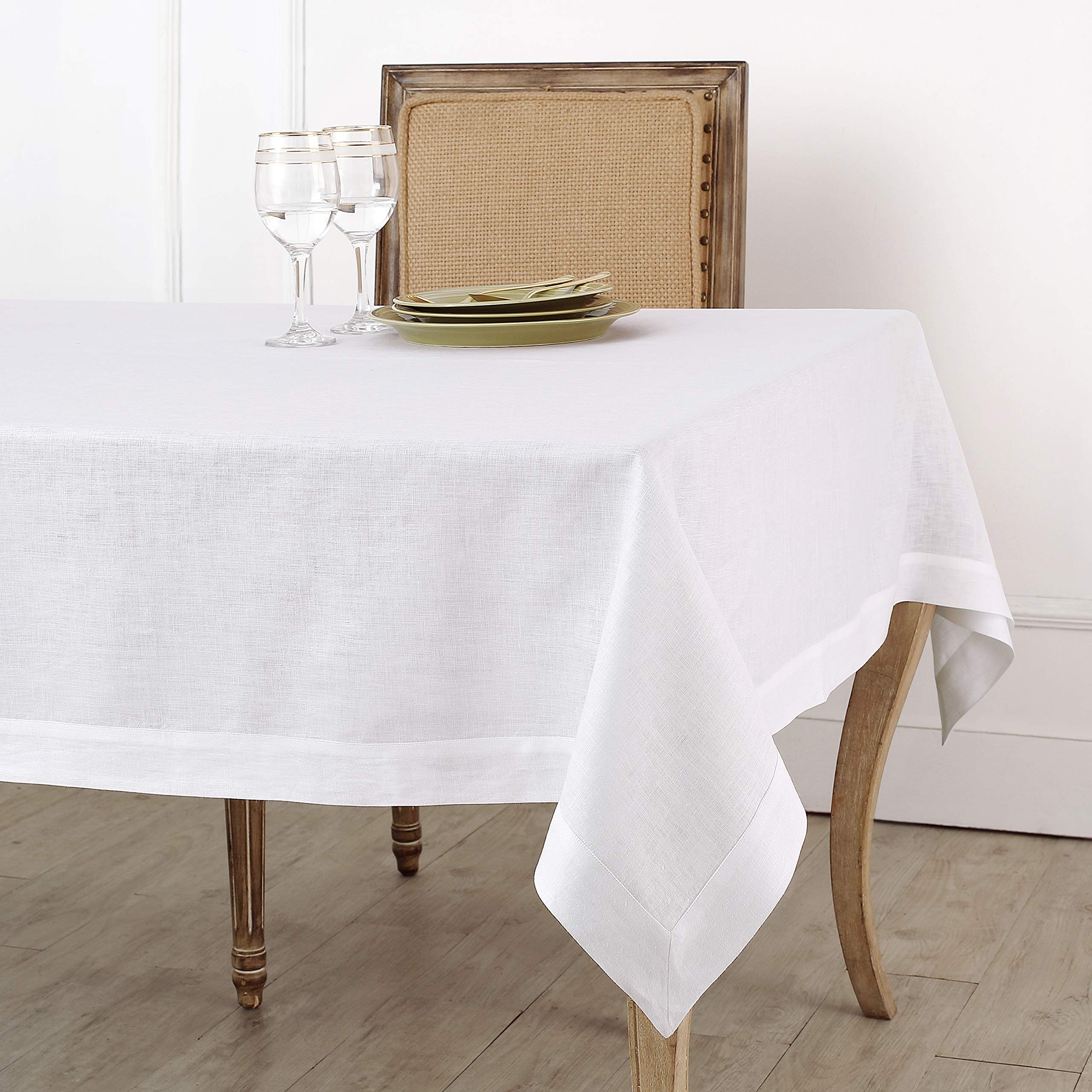 Solino Home 100% Linen Tablecloth - 60 x 120 Inch White, Natural Fabric, European Flax - Athena Rectangular Tablecloth for Indoor and Outdoor use
